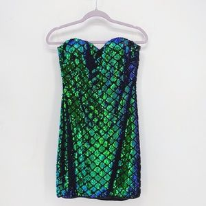 Privy Flippable Sequin Strapless Bodycon Dress